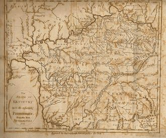 "Southwest Territory - Low's map, ""The State of Kentucky and adjoining Territories."" The Southwest Territory did not yet include West Tennessee, which was still under control of Indians. From Low's Encyclopaedia"