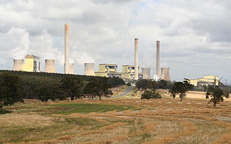 Loy Yang Power Station - Loy Yang B (left), Loy Yang A (centre), coal bunkers from open cut mine (right).