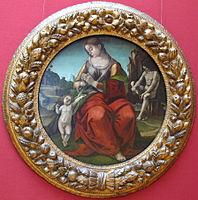 Luca signorelli, tondo con madonna in adorazione del bambino e ignudo.JPG