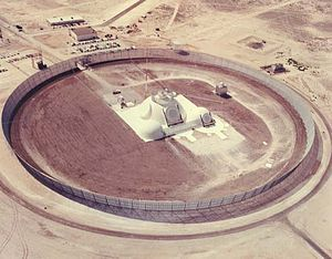 Active electronically scanned array - An aerial view of the three domes of the Multifunction Array Radar prototype, surrounded by a clutter fence, at White Sands Missile Range, N.M.