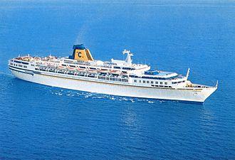 SS Guglielmo Marconi - Postcard of Costa Riviera at sea.