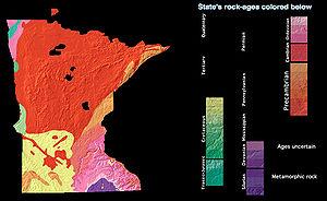 Geology of Minnesota - Map of Minnesota bedrock by age.