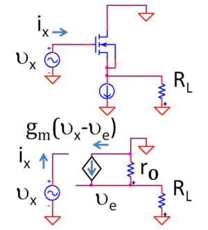 Buffer amplifier - Figure 5: Top: MOSFET voltage follower Bottom: Small-signal, low-frequency equivalent circuit using hybrid-pi model