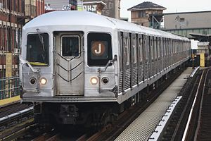 R42 (New York City Subway car) - Image: MTA NYC Subway J train leaving Myrtle Ave