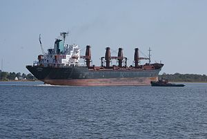 The M/V Tuscarora shortly after weighing ancho...