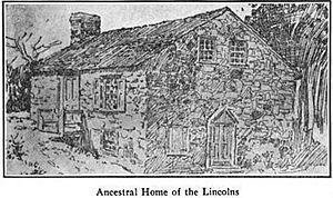 Mordecai Lincoln House (Lorane, Pennsylvania) - Sketch of the house published in 1907 from an earlier drawing.  The sketch likely shows the state of the building before 1760.