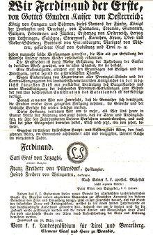 Aufhebung der Pressezensur durch FerdinandI. am 15.März 1848 (Quelle: Wikimedia)