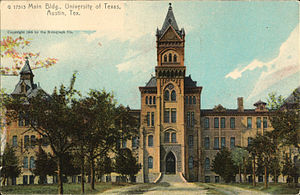 Main Building (University of Texas at Austin) - Main Building, University of Texas, Austin, Texas (postcard, circa 1905)