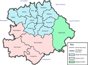 Greater Manchester Statutory City Region - A map of the Manchester City Region as it was defined in 2004.