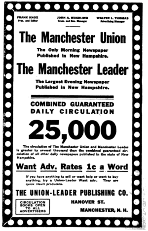 New Hampshire Union Leader - 1916 advertisement for the then-separate Manchester Union and Manchester Leader papers