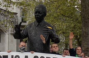 National Action (UK) - Image: Mandela statue defaced
