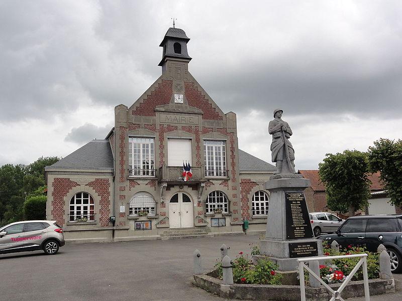 Manicamp (Aisne) mairie et monument aux morts