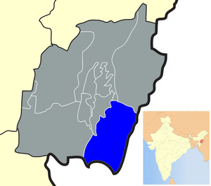 Location of Chandel district in Manipur