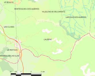 L'Albère - Map of L'Albère and its surrounding communes