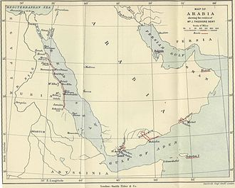 James Theodore Bent - Map of Arabia showing routes of Theodore Bent.