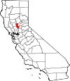 State map highlighting Sutter County