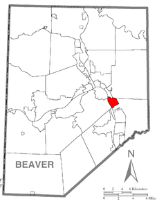Map of Conway, Beaver County, Pennsylvania Highlighted.png
