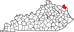 State map highlighting Greenup County