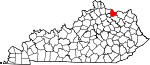 State map highlighting Mason County