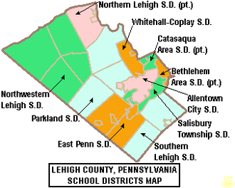 Catasauqua Area School District - A map of Catasauqua Area School District in relation to other school districts in Lehigh County