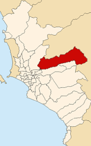 Lurigancho-Chosica - Image: Map of Lima highlighting Lurigancho