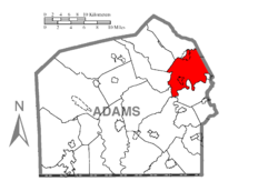 Map of Adams County, Pennsylvania highlighting Reading Township