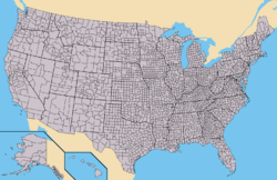 United States of America, showing states, divided into counties (parishes in Louisiana; boroughs in Alaska). Note that Alaska and Hawaii are shown at different scales, and that the Aleutian Islands and the uninhabited Northwestern Hawaiian Islands are omitted from this map.