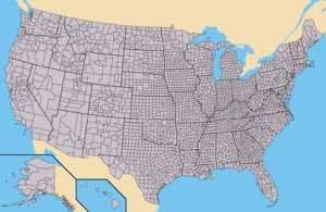 Federal government of the United States - The states of the United States as divided into counties (or, in Louisiana and Alaska, parishes and boroughs, respectively). Alaska and Hawaii are not to scale and the Aleutian and uninhabited Northwestern Hawaiian Islands have been omitted.