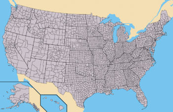 United States of America, showing states, divided into counties.