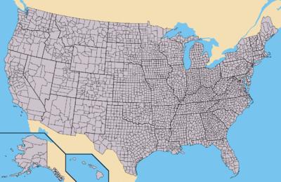 Cartina degli stati uniti riportante i confini di stato e di contea