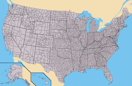 The states of the United States as divided into counties (or, in Louisiana and Alaska, parishes and boroughs, respectively). Alaska and Hawaii are not to scale and the Aleutian and uninhabited Northwestern Hawaiian Islands have been omitted. Map of USA with county outlines.png
