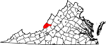 State map highlighting Alleghany County