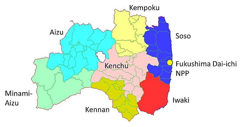 File:Map showing the location of the Fukushima Dai-ichi NPP in relation to seven areas of Fukushima Prefecture.jpg