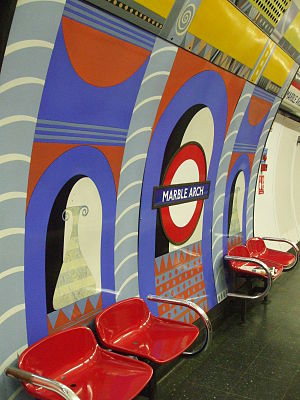 Marble Arch tube station - Image: Marble Arch stn platform decoration