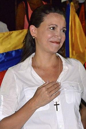 María Corina Machado - Machado at a gathering in Guarenas in 2014