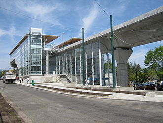 Transit-oriented development - Marine Drive station in Vancouver on opening day (2009)