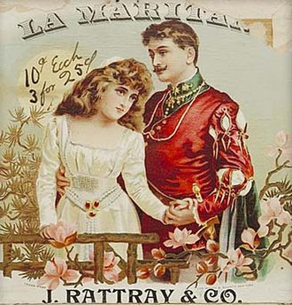 Opera in English - Cigar box from 1883 showing a scene from Maritana by Wallace