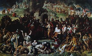 "Norman invasion of Ireland - The Marriage of Strongbow and Aoife, painting by Daniel Maclise, portrays the Norman conquest of Ireland and the marriage of Richard de Clare, 2nd Earl of Pembroke (""Strongbow"") to the Irish princess Aoífe."