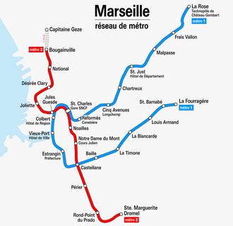 Marseille Metro - Image: Marseille Metro Netzplan