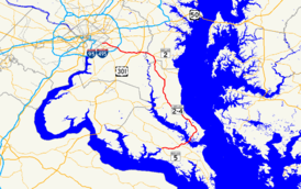 A map of southern Maryland showing major roads.  Maryland Route 4 runs from Leonardtown through St. Mary's County, Calvert County, Anne Arundel County, and Prince George's County to Washington, D.C.