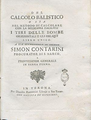Ballistics - Gaetano Marzagaglia, Del calcolo balistico, 1748