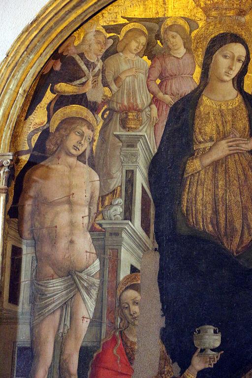 Matteo di Giovanni, Madonna col bambino e santi, 1480 circa, particolare