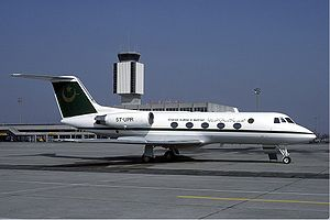 Mauritania Government G-1159 Gulfstream II at Basle Aiprort March 1987.jpg