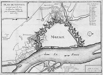 Nicolas Chalon du Blé - Map of the Siege of Mayence, in 1689. Engraving, Paris, 1756