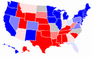 Statewide opinion polling for the United States presidential election, 2008.  10% Obama lead 4%–10% Obama lead 1%–4% Obama lead Tie 1%–4% McCain lead 4%–10% McCain lead  10% McCain lead