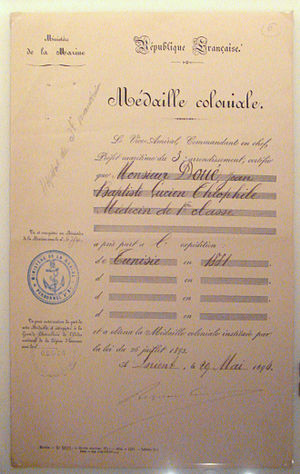 "Colonial Medal - ""Médaille Coloniale"" certificate of 1894 for the participation in the 1881 French occupation of Tunisia of Military Doctor Jean-Baptiste Doué."
