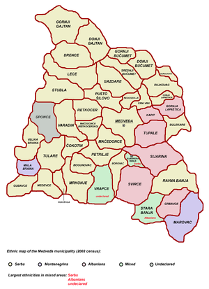 Medveđa - Ethnic map of the Medveđa municipality (as of 2002).