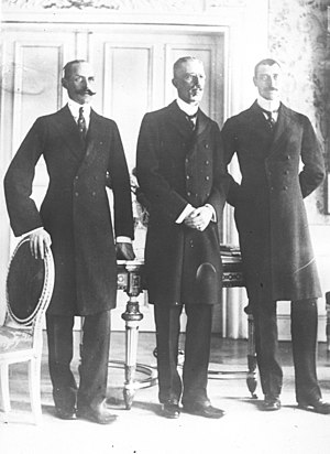 Gustaf V of Sweden - Meeting of the three kings in Malmö, 18 December 1914: Haakon VII of Norway, Gustaf V, and Christian X of Denmark.