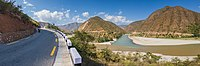 Meeting point of Sunkoshi and Tama Koshi River from Beni Ghat-IMG0620-Pano.jpg