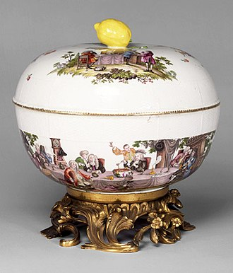 Punch (drink) - Punch bowl and stand, made at the Meissen factory, Germany, 1770, Victoria and Albert Museum
